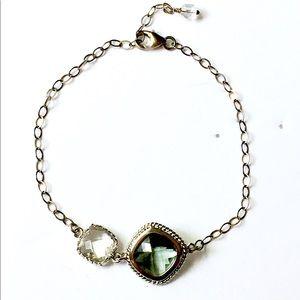 Sterling silver faceted gemstone bracelet 925